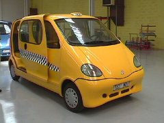 Taxis are alrady full of hot air but not powered by it.