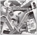 Everything's relative: Relativity by M. C. Escher.